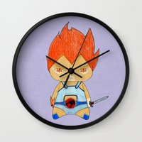 thundercats Wall Clocks featuring A Boy - Lion-O (Thundercats) by Christophe Chiozzi