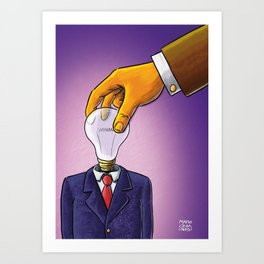 Light Bulb Head Businessman Art Print