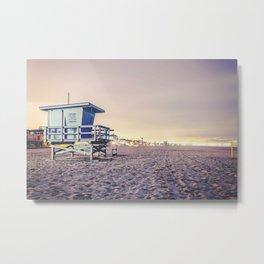Manhattan Beach Hut Metal Print