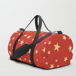 Shining Golden Stars red background Duffle Bag