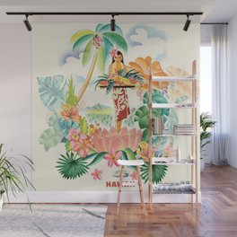 Vintage Hawaiian Travel Poster Wall Mural