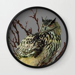 OWL IN TREE GREY ART DESIGN  ART Wall Clock