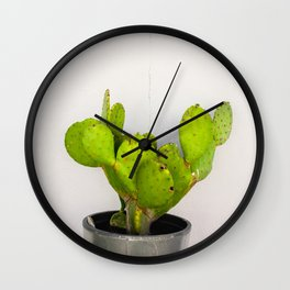 Prickly Pear Cactus and a Cracked Wall Wall Clock
