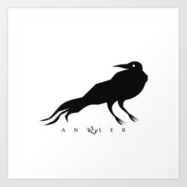 Black Crow on White Art Print
