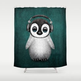 Cute Baby Penguin Dj Wearing Headphones on Blue Shower Curtain