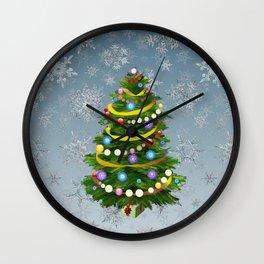 Christmas tree & snow Wall Clock
