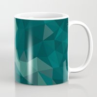 polygon Mugs featuring Green Polygon by artsimo
