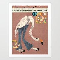 Birds Wear Clothes - Bell Bottoms Art Print