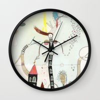 notebook Wall Clocks featuring Desire creates the power. by Nayoun Kim
