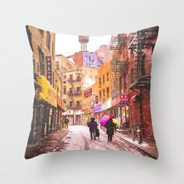 The Colors of Winter - New York City Throw Pillow