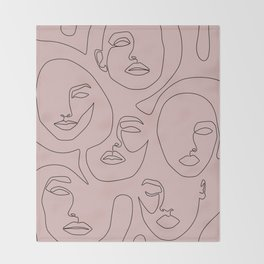 Blush Faces Throw Blanket