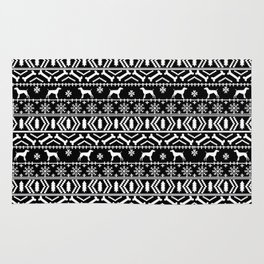 German Shorthair Pointer fair isle christmas holidays dog breed pattern black and white Rug