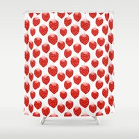 vegetarian Shower Curtains featuring Strawberries - trendy fresh tropical fruit vegan vegetarian juice juicing cleanse by CharlotteWinter