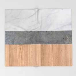 Carrara Marble, Concrete, and Teak Wood Abstract Throw Blanket