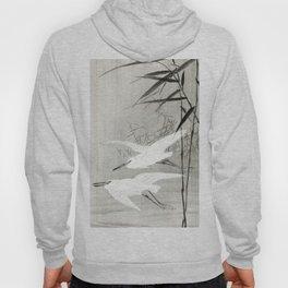 Egrets flying over the swamp - Japanese vintage woodblock print art Hoody