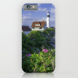 Portland Head Lighthouse Flowers View iPhone Case