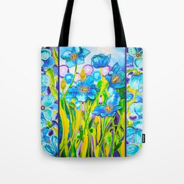 Blue Poppies 2 with Border Tote Bag