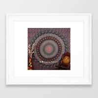 bedding Framed Art Prints featuring Blue Printed Elephant Tapestry Bedding by Ved India