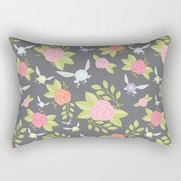 Garden of Fairies Pattern in Grey Rectangular Pillow