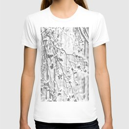 Cloudy Day In The Forest B&W Snowy Rowan Branches With Berries #decor #society6 #homedecor T-shirt