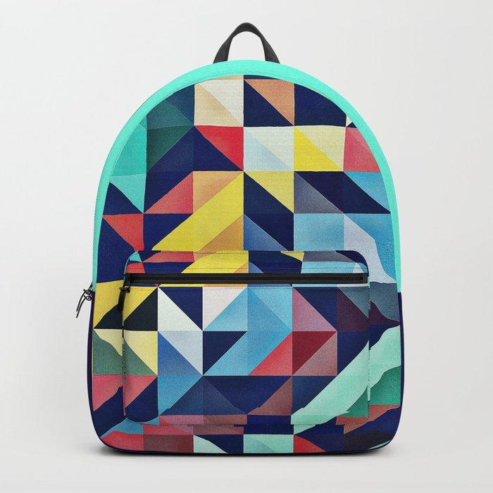Modern Colorful Retro Geometric Triangle Pattern Backpack