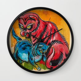 Blue and Red Cats Wall Clock