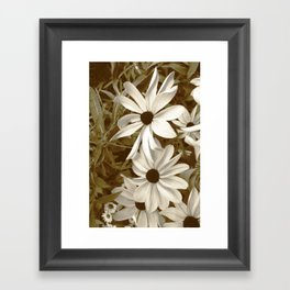White Florals Framed Art Print