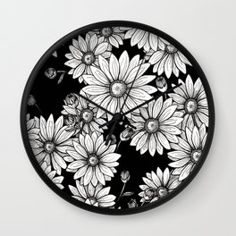 Field of Daisies: Black and White Wall Clock