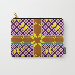 Western Style Purple Patterns & Yellow Butterflies Coffee Brown Carry-All Pouch