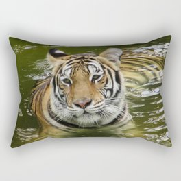 Tiger in the Water Rectangular Pillow