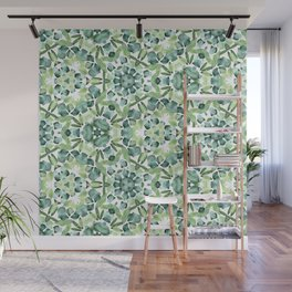 Green petal kaleidoscope  Wall Mural