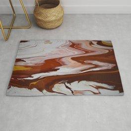 Red Burgundy Fluid Liquid Marble Flow Painting - Lava Flow II Rug
