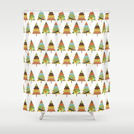 Abstract pine tree forest seamless pattern background Shower Curtain
