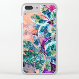 Rubber Tree - Alcohol Ink Clear iPhone Case
