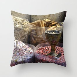 Spice souk Dubai Throw Pillow