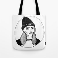 bitch Tote Bags featuring bitch. by Lost Property Prints