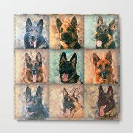 German Shepherd Dogs - GSD - Digital Art Collage Metal Print