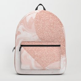 Rose Glitter and Blush Marble Backpack