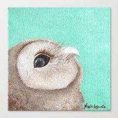 Original Owl Painting Print Aqua Blue Owl Art Owl print Cute Owl art One of a kind Unique Canvas Print