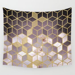 Shades Of Pink Cubes Pattern Wall Tapestry