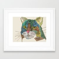 whisky Framed Art Prints featuring Whisky Cat by Faye Finney