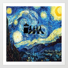 The Doctors Walking Of Starry Night Art Print
