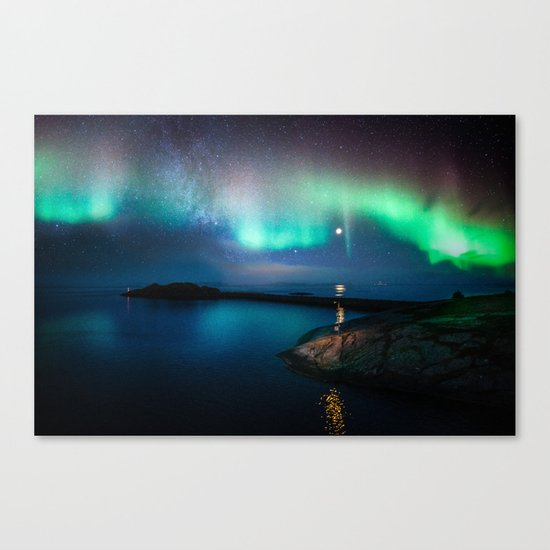 Aurora Borealis Over Coastal Waters Canvas Print