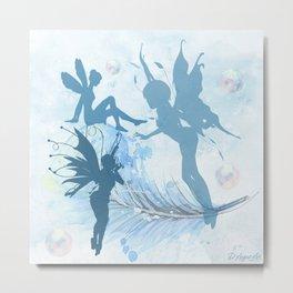Blue Fairies Playing Metal Print