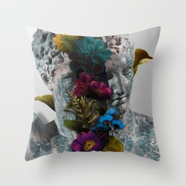 Broken Bust Sculpture Throw Pillow