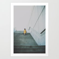 A girl in a yellow dress Art Print