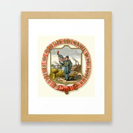 Iowa state coat of arms illustrated in 1876 Framed Art Print