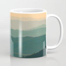 Landscape Photography Teal Turquoise Green Parallax Mountains Hills Orange Sunset Sky Minimalist Pho Coffee Mug