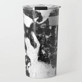 Rabbit at Crossroads Black and White Abstract Travel Mug