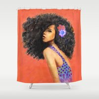 afro Shower Curtains featuring Afro Blessings by Art By Tola